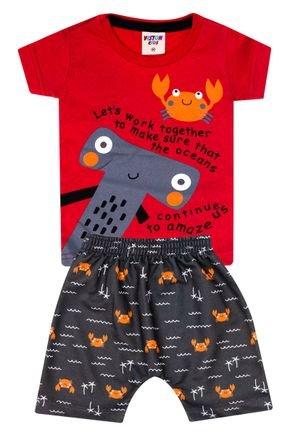 Conjunto Menino Camiseta Vermelha e Bermuda Chumbo Sublimado - Viston