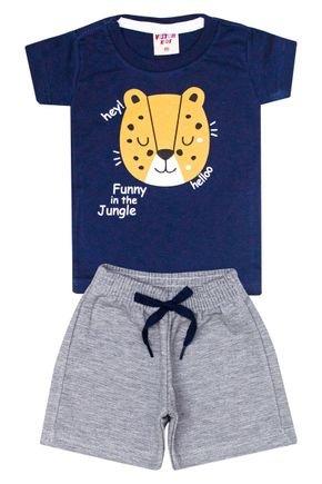 Conjunto Menino Camiseta Marinho e Bermuda Mescla - Viston
