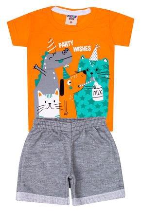 Conjunto Menino Camiseta Laranja e Bermuda em Moletinho Mescla - Viston