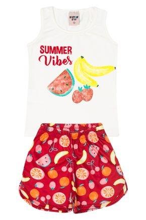 Conjunto Menina Regata Off White e Shorts Vermelho Sublimado - Viston