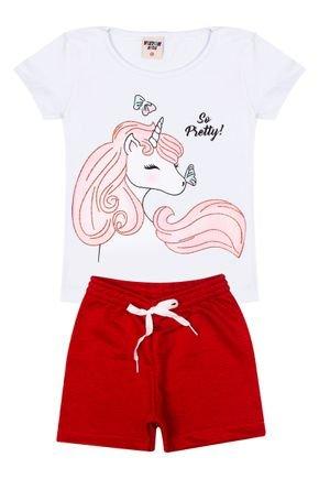 Conjunto Menina Blusa Branca e Shorts em Moletinho Vermelho - Viston