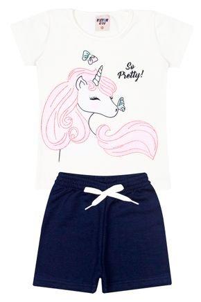 Conjunto Menina Blusa Off White e Shorts em Moletinho Marinho - Viston