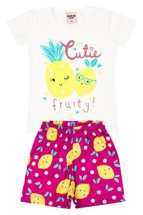 Conjunto Menina Blusa Off White e Shorts Pink Sublimado - Viston