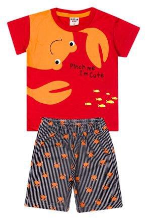 Conjunto Menino Camiseta Vermelho e Bermuda Preta Sublimada - Viston