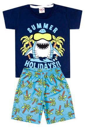 Conjunto Menino Camiseta Marinho e Bermuda Azul Sublimado - Viston