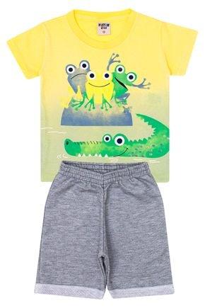 Conjunto Menino Camiseta Amarela e Bermuda Mescla - Viston