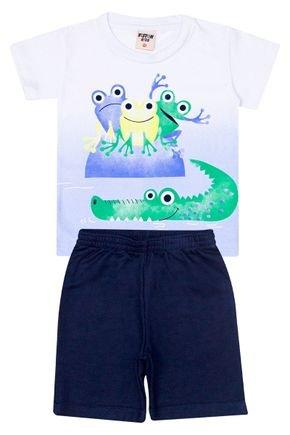 Conjunto Menino Camiseta Branca e Bermuda Marinho - Viston