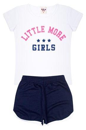 Conjunto Menina Blusa Branca e Shorts em Moletinho Marinho - Viston