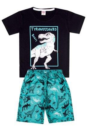 Conjunto Menino Camiseta Preta e Bermuda Verde Sublimado - Viston
