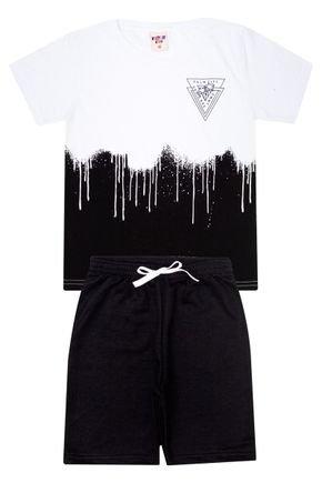 Conjunto Menino Camiseta Branca e Bermuda em Moletinho Preto - Viston