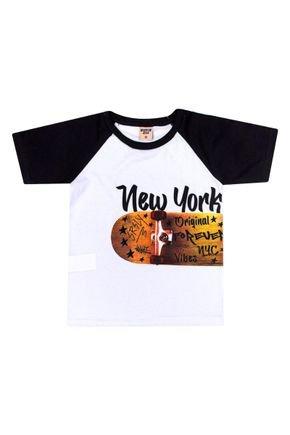 Camiseta Menino em Meia Malha Branca com Recorte Preto - Viston