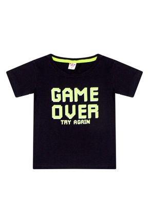 Camiseta Menino em Meia Malha Preta - Viston