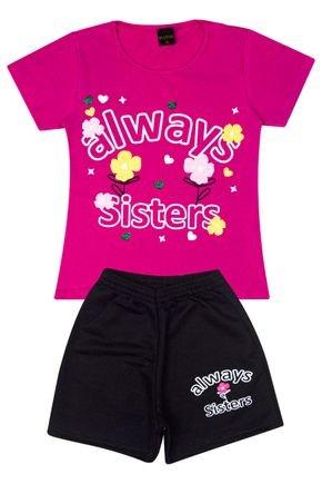 Conjunto Menina Blusa em Cotton Pink e Shorts em Moletinho Preto - Viston