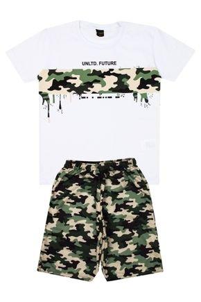 Conjunto Menino Camiseta Branca e Bermuda Verde Sublimado - Viston