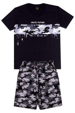 Conjunto Menino Camiseta Preta e Bermuda Cinza Sublimado - Viston